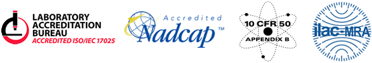 ISO 17025 Accredited by Laboratory Accreditation Board   Nadcap Accredited Mark   L-A-B Accredited for ISO 17025